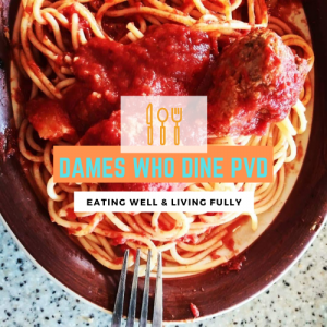 Dames Who Dine PVD logo with a plate of pasta